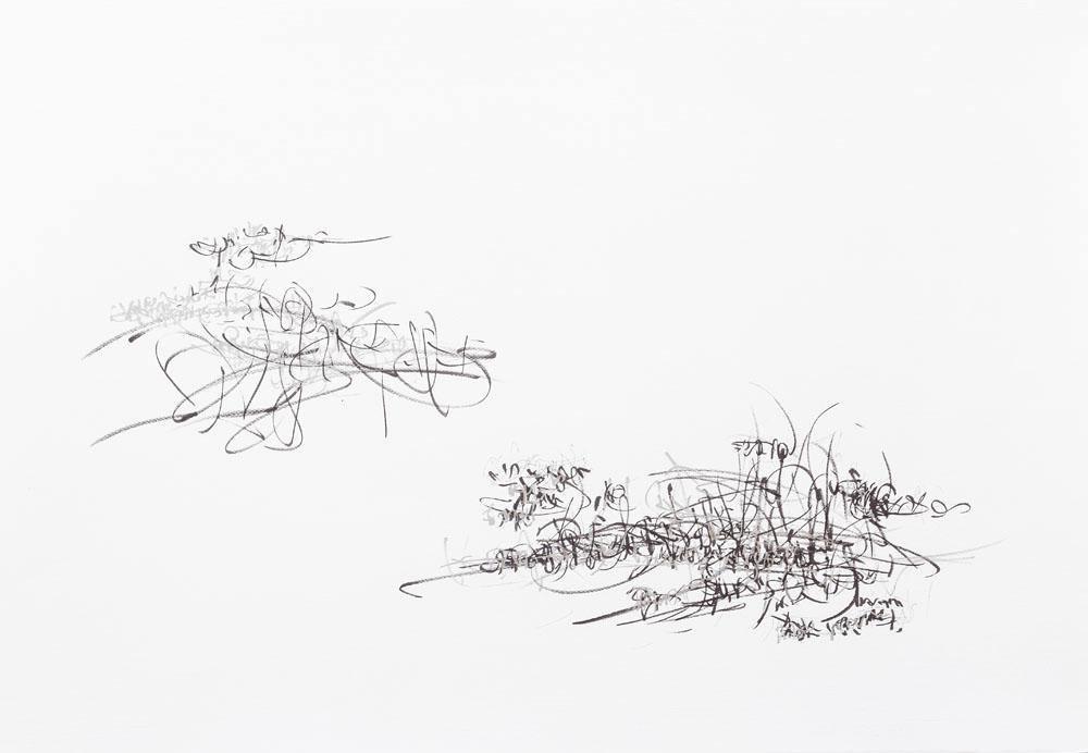<i>hidden track</i>, fibra sobre papel, 70 x 100 cm, 2019